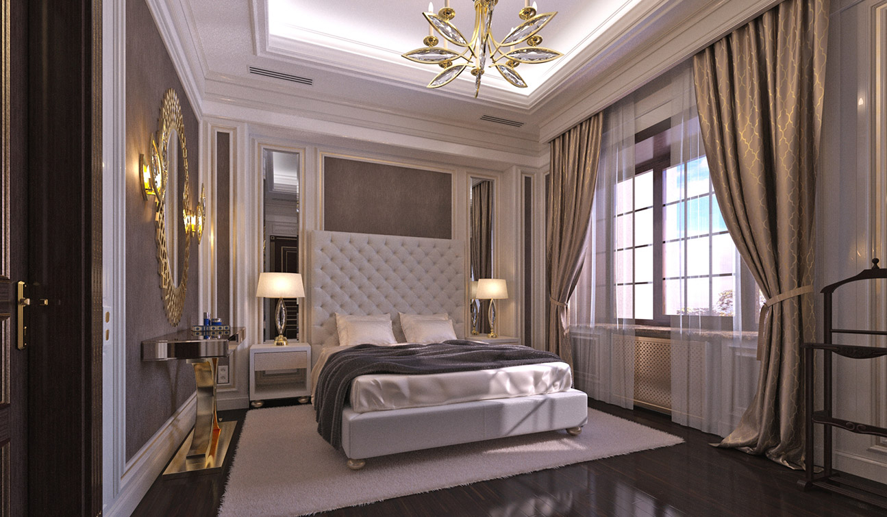 Elegant Guest Bedroom interior in Art Deco style 01