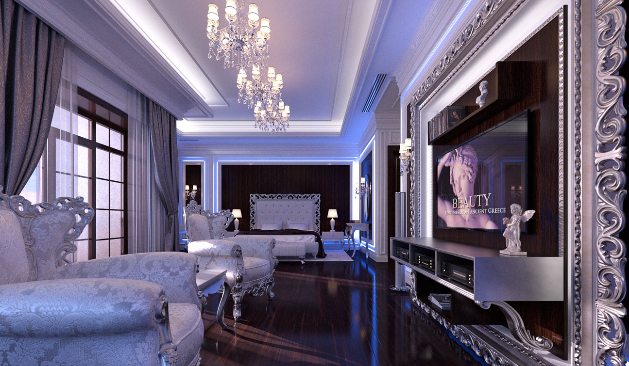 Glamour Bedroom interior in Luxury Neoclassical style 01