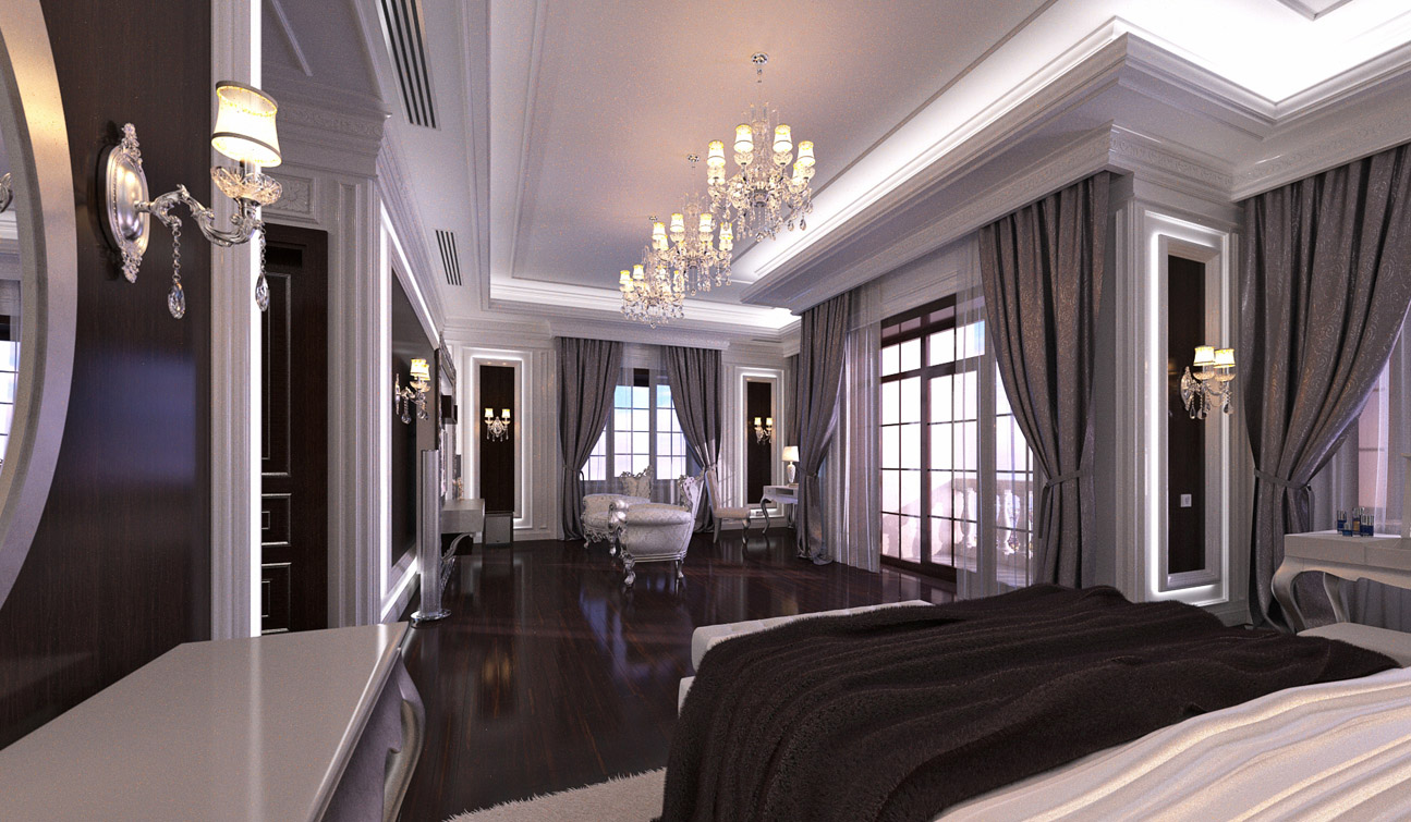 Indesignclub glamour bedroom interior in luxury Neo classic interior design