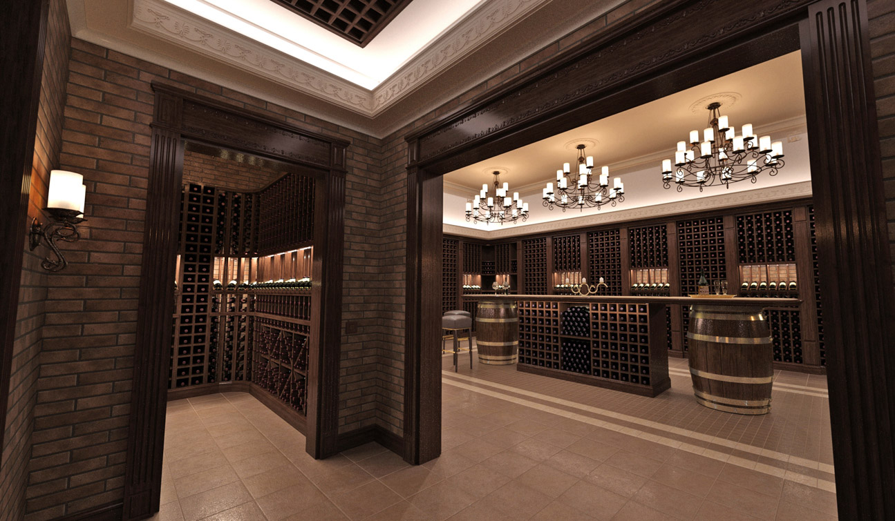 Interior design of a wine cellar in the private residence 03