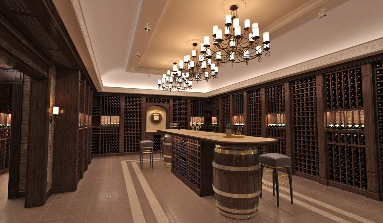 Interior design of a wine cellar in the private residence 04