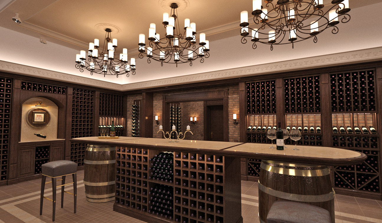 Interior design of a wine cellar in the private residence 05