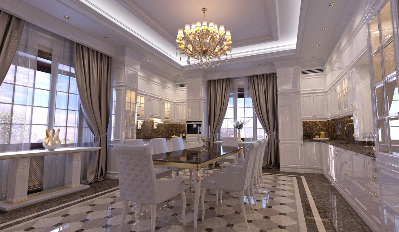 Indesignclub interior design of classic style family dining room we are glad to present you our latest work within the project of the interior design for h residence this is classic style interior design of dining room dzzzfo