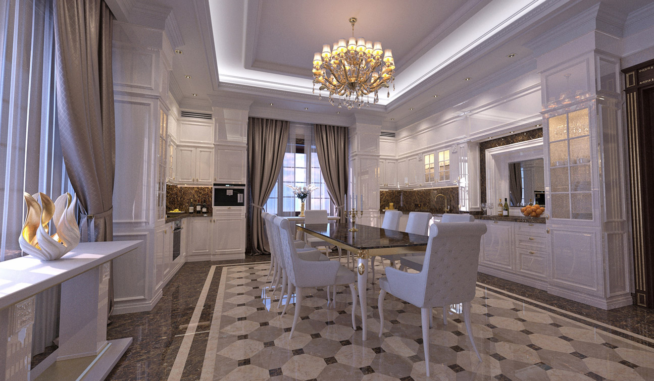 Interior design of classic style family dining room 02