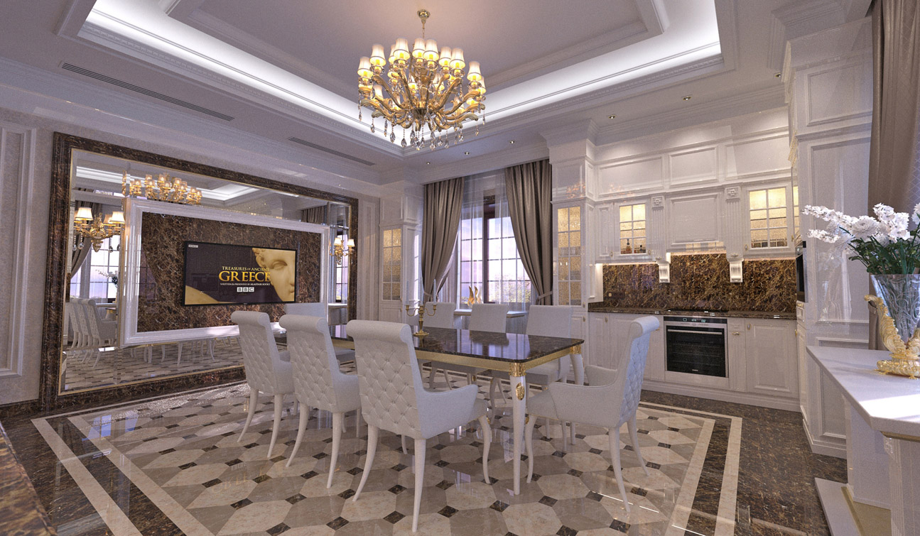 Interior design of classic style family dining room 04