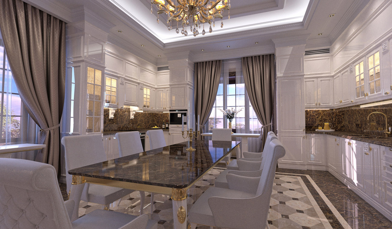 Interior design of classic style family dining room 06