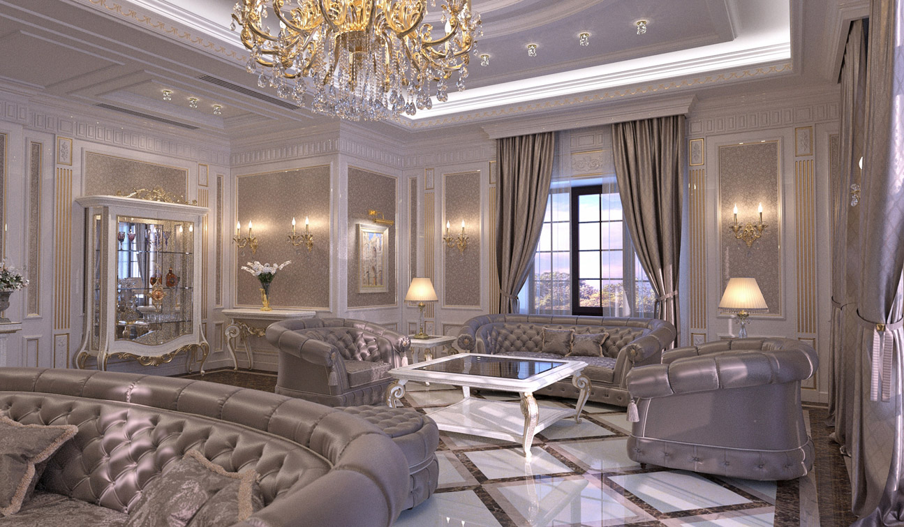 Living Room interior design in elegant Classic style 01