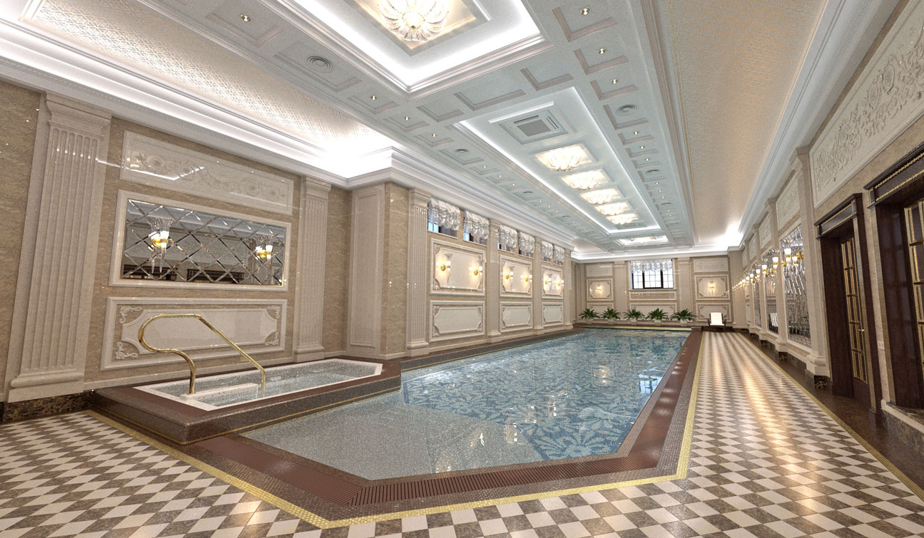 Private Swimming Pool interior in Luxury Home Spa 02