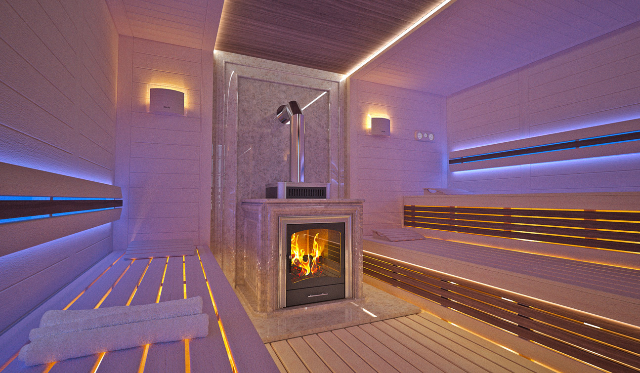 Indesignclub Sauna Interior In Luxury Home Spa