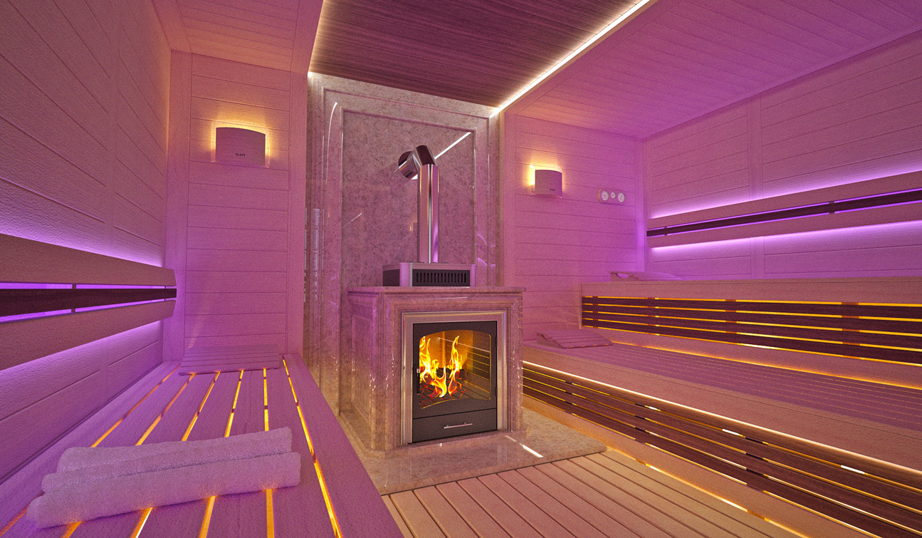 Sauna interior in Luxury Home Spa 02