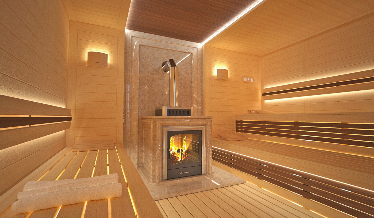 Sauna interior in Luxury Home Spa 03