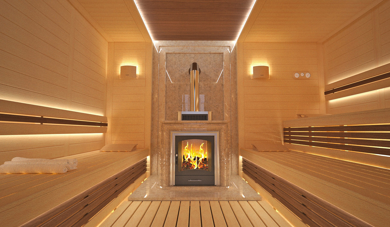Sauna Interior In Luxury Home Spa