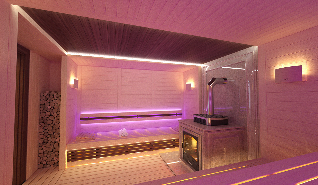 Sauna interior in Luxury Home Spa 06