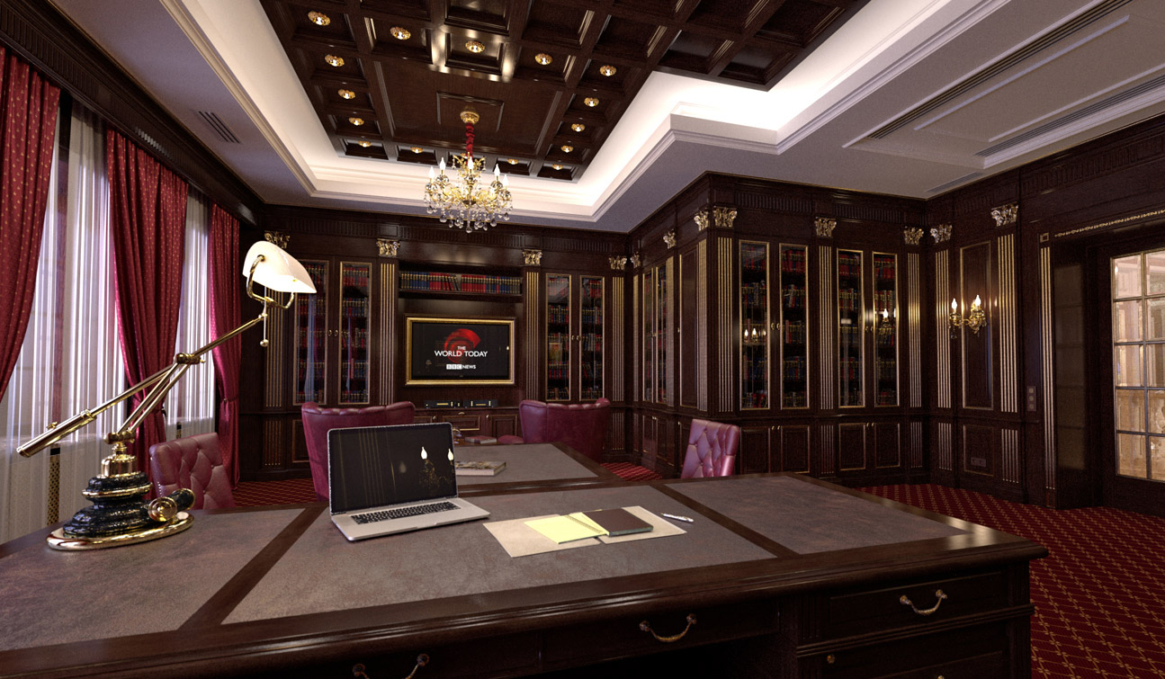 Study Room With Home Library Interior In Classic Style
