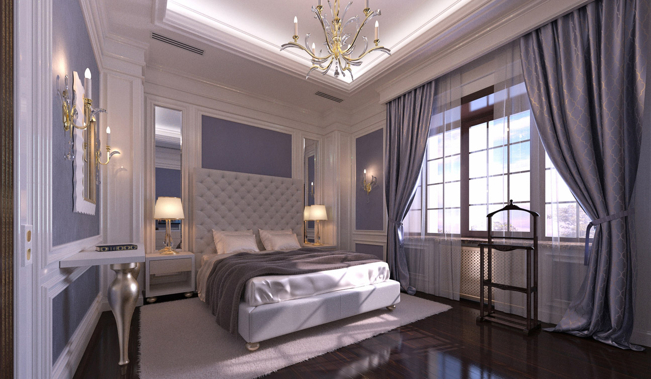 indesignclub stylish and luxury guest bedroom interior in art deco style. Black Bedroom Furniture Sets. Home Design Ideas