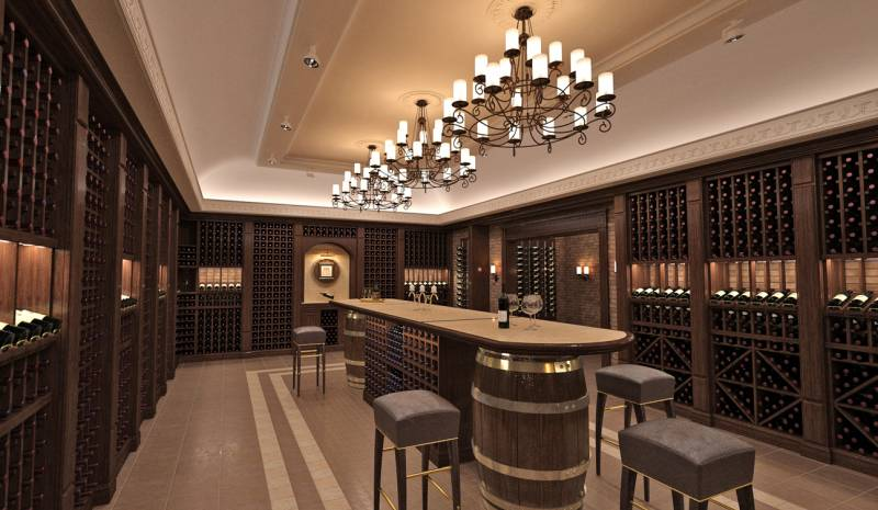 The Interior design of a wine cellar in the private house