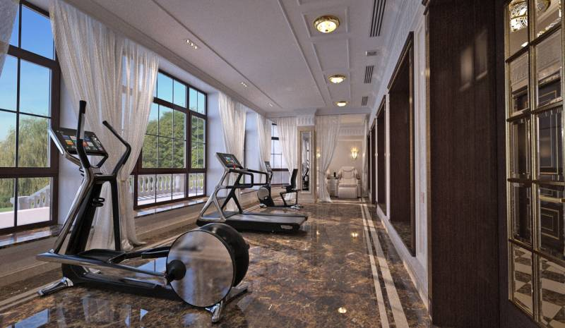 Massage and Fitness room interior in Luxury Home SPA