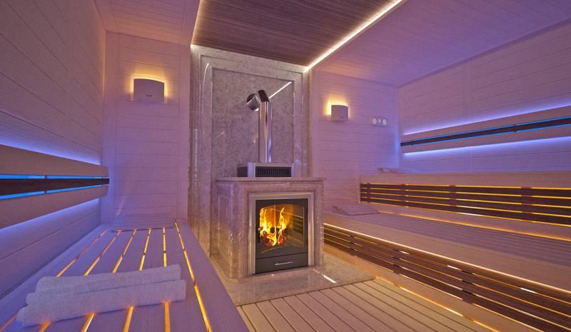 Sauna interior in Luxury Home Spa